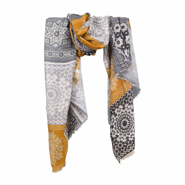 SKF3B Gold Grey Block Abstract Pattern Scarf