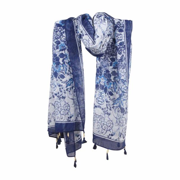 SKF3D Blue Flowers Scarf Tassels