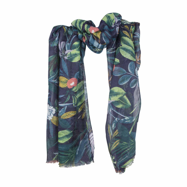 SY2B Grass Scene Green Leaves Flowers Scarf