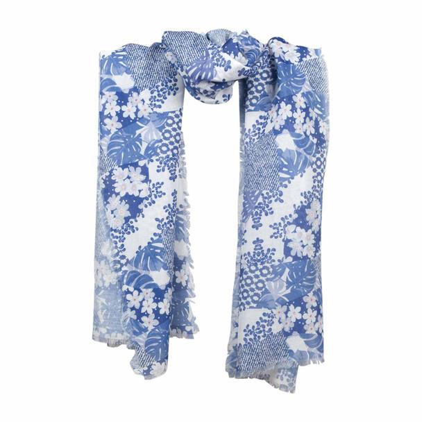 SYA1G Blue White Flowers Scarf