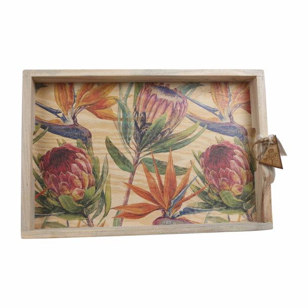 TRAYPRO19 Wooden Tray - Protea