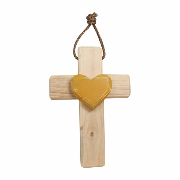 CRS010 Natural Wooden Cross - Mostert Heart