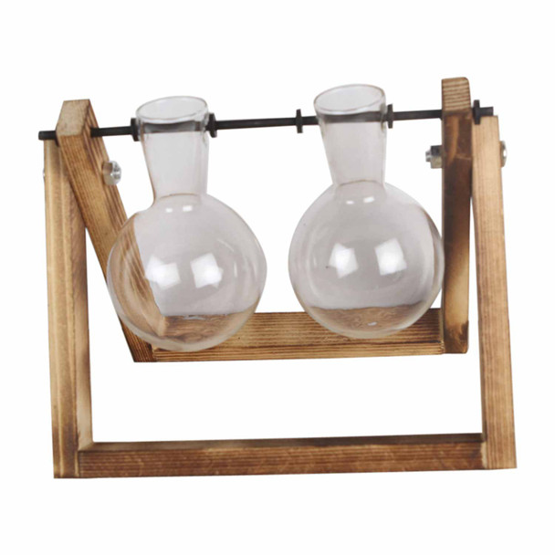 RS1782 Two Glass Vases Wooden Stand