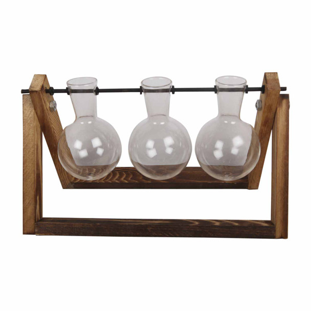 RS1783 Three Glass Vases Wooden Stand