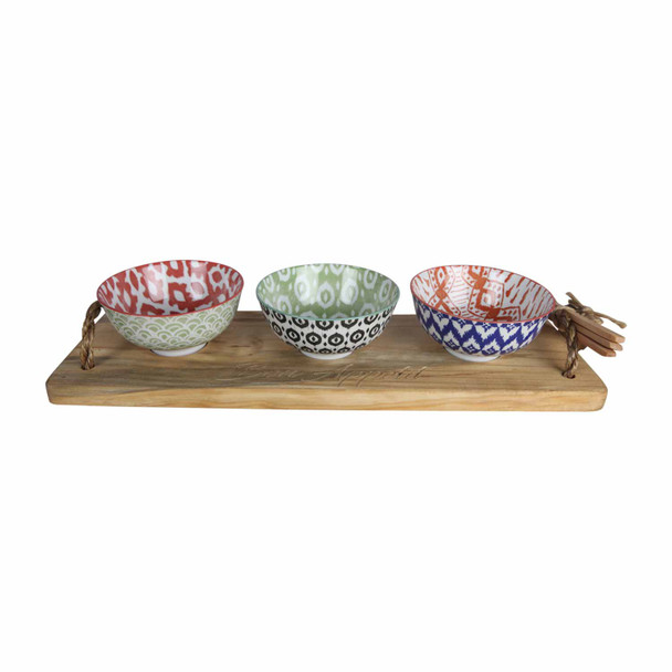 BON12 Bon Appetit Engraved Wooden Tray with 3 Bowls and Wooden Spoons