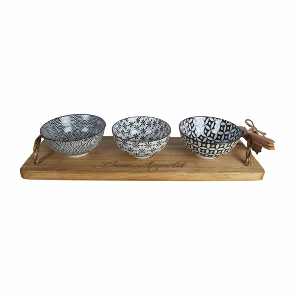 BON13 Bon Appetit Engraved Wooden Tray with 3 Bowls and Wooden Spoons