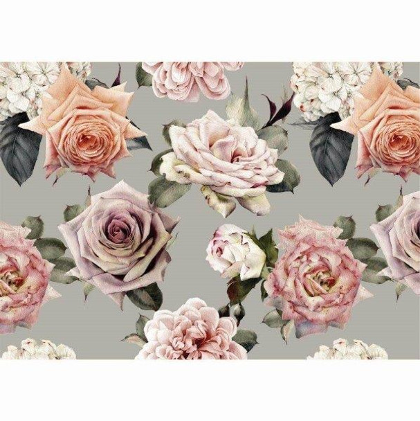 PVCPROSE03 PVC Placemat - Grey Roses