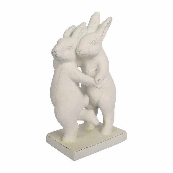 14526LA584 White Large Polyresin Dancing Bunnies