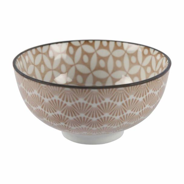 ZY017V Brown Patterned Ceramic Bowl