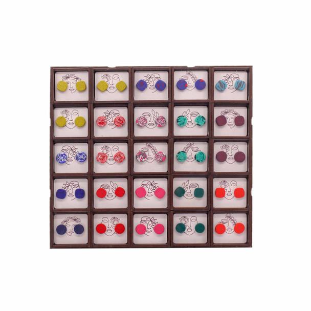 PBD027 Box Set of 25 Bright Colour Clay Ear Studs