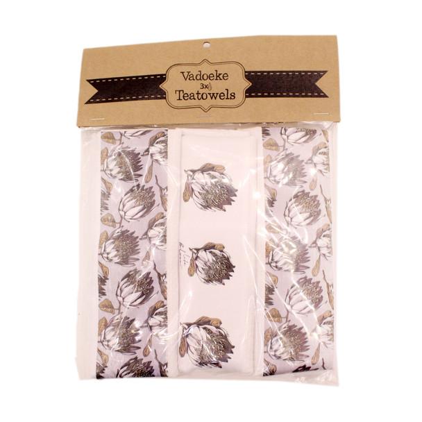 DCLOTH36 Set3 Dishcloths - Grey Protea