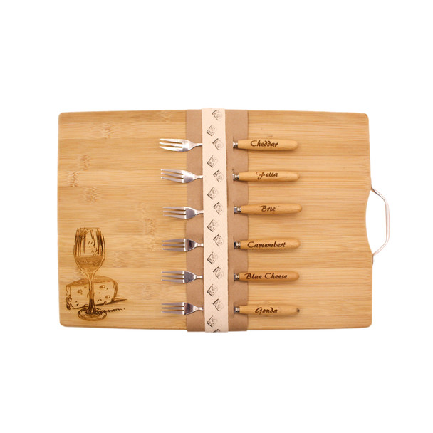 BAMCHEESE Engraved Bamboo Cheese Board with 6 Forks