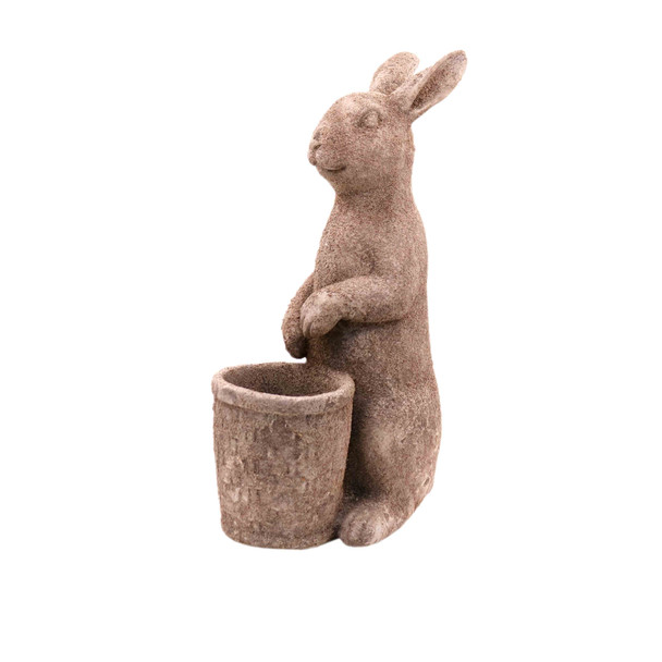 15324LA975 Large Grey Ceramic Bunny Holding Basket