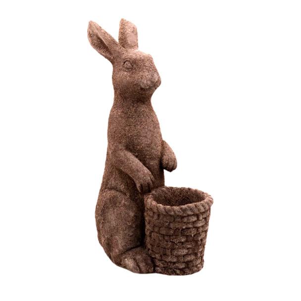 15324SA975 Small Grey Ceramic Bunny Holding Basket