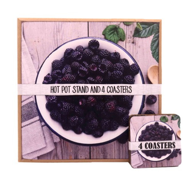 HPCS41 Wooden Hot Pot Stand with Coasters set of 4 - Berries
