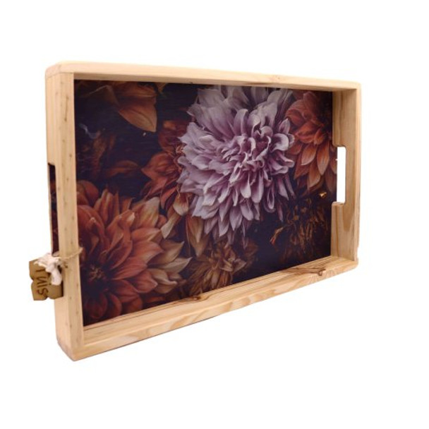 WTRAY4 Printed Wooden Serving Tray - Dark Floral