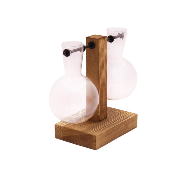 WSB2 Two Glass Vases Wooden Stand