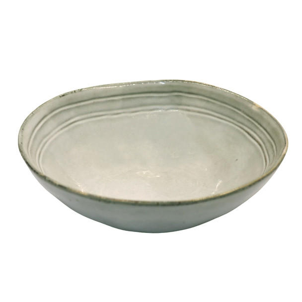 TM21ST0405104A Light Grey And Lined Ceramic Pasta Bowl