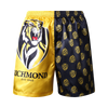 Richmond Tigers satin boxers. On one side its black with mini Richmond Tigers logos on it. On the other side its yellow with an enlarged size of the Richmond Tigers logo.