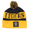 Yellow and black horizontally striped Richmond Tigers beanie with pom pom.