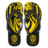 Yellow and black Richmond tigers rubber thongs. Size small.