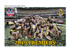 "Picture of the players all celebrating on the MCG oval holding the cup. Words ""2019 PREMIERS"" on the bottom and the club and premiership logo on the top corners."