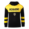 """A Yellow and black hoodie, with yellow strips around the sleeves, also displaying """"RICHMOND"""" across the chest with the club logo shown below."""