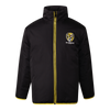 A Black based zip up jacket with yellow piping down the zip line, also displaying the club logo on the left hand side of the jacket.
