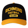 "A Black base cap with a yellow peak and yellow text that has ""RICHMOND"" and the clubs establishment date on it."