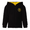 A black based zip up hooded jacket with yellow lining on the inside. Displaying the stitched Richmond logo.