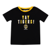 "A black based tee with yellow piping around the collar , displaying ""YAY TIGERS"" on the front over two lines, followed by the club logo below it."