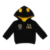 """A Black based hoodie with the club logo displayed on the right hand side of the jacket. On the left hand side of the jacket it has """"TIGERS!"""" broken down over two lines. The hood has two little ears on top with yellow lining on the inside."""