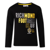 "A Black long sleeve Pyjama Tee with ""Richmond Football Club"" displayed over three lines on the front, as well as displaying the club logo in the middle bottom of the tee."