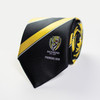 """Silk tie featuring yellow and black stripes all the way down with club logo at the end and """"2019 premiers"""" below the logo."""
