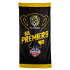 "Black Towel With black silhouette of premiership cup and text in yellow ""Premiers""."