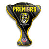 """Black cushion with yellow text saying """"Premiers"""" Features the club log."""