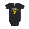 All black romper with a yellow premiership design on the front