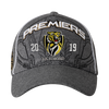 "Grey cap with club logo and white writing saying ""Premiers 2019"""