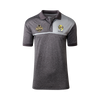Grey polo with light grey chest on the left. Club and premiership logo. Super light weight material