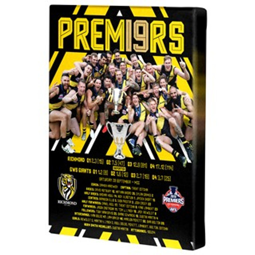 """Black background with yellowing detailing. """"premiers"""" in yellow writing across the top. Image of the team celebrating holding the cup. Info about the game on the bottom third. (bottom third has a solid black background with yellow writing) Also features team logo and premiers logo."""