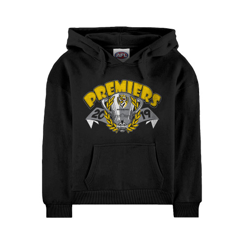 Black hoodie with premiership design on the front