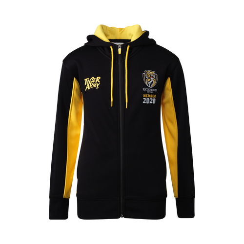 "Black and Yellow 2020 members hoodie. ""Tiger Army"" on the left hand side and the Richmond Tigers logo on the right hand side with the text under ""member 2020""."