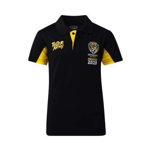"""Black 2020 members polo. """"Tiger Army"""" on the left hand side and the Richmond Tigers logo on the right hand side with the text under """"member 2020""""."""
