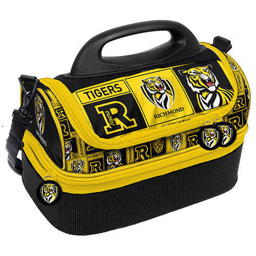 Yellow and black lunch box with our Richmond Tigers logo.
