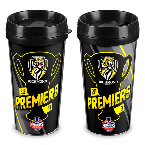 Richmond Premiers travel mug. Black and yellow with the premiers cup photo on the front of the travel mug.