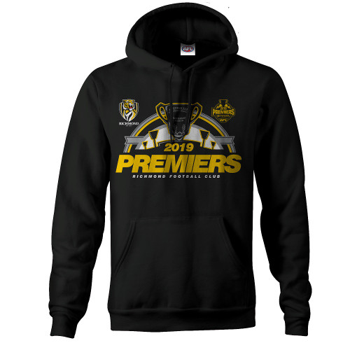 """Youth black Premiers P2 hood. This has the """"Premiers 2019"""" and a cartoon design of the premiers trophy in in yellow and black."""