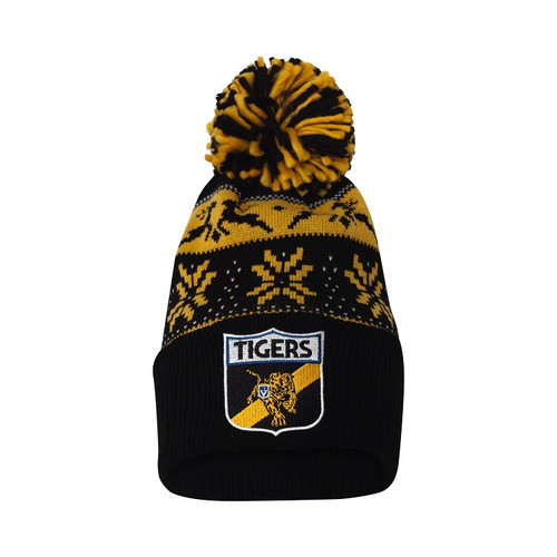 Richmond Tigers winter beanie. With a chunky pom pom on the top, jacquard knit design and a chunky rib folded cuff with team logo embroidered.