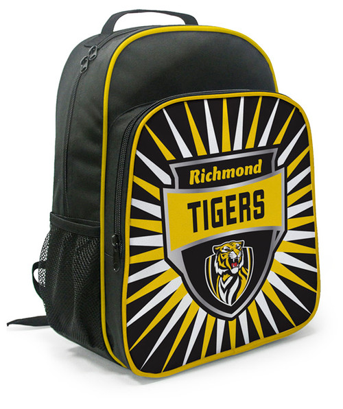 Richmond backpack with a fun yellow and black design on the front with the team logo. This has two separate compartments with adjustable straps.
