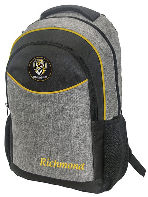 Richmond Football Club backpack. Yellow and grey with the rubber Richmond logo middle top of the bag.