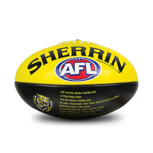 Yellow and Black Sherrin football. With the AFL and Richmond logo. With the lyrics of our very own theme song.